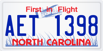 NC license plate AET1398