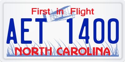 NC license plate AET1400