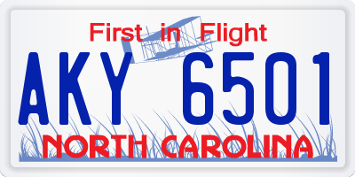 NC license plate AKY6501