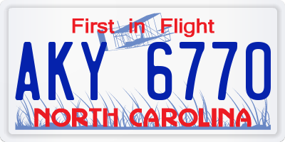 NC license plate AKY6770