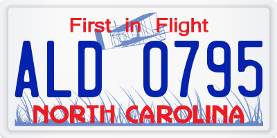 NC license plate ALD0795