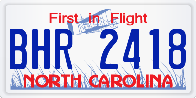 NC license plate BHR2418