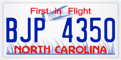 NC license plate BJP4350