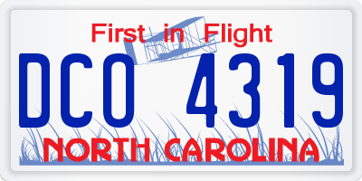 NC license plate DCO4319