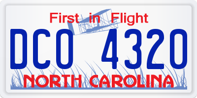 NC license plate DCO4320