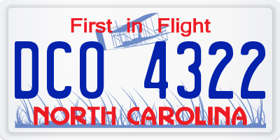 NC license plate DCO4322