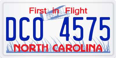 NC license plate DCO4575