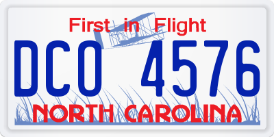 NC license plate DCO4576
