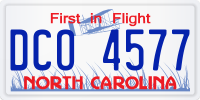 NC license plate DCO4577
