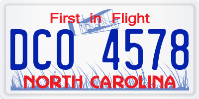 NC license plate DCO4578