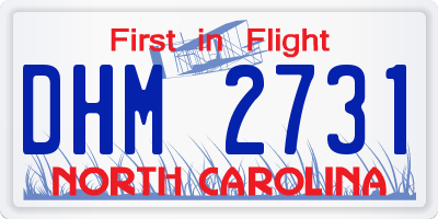 NC license plate DHM2731