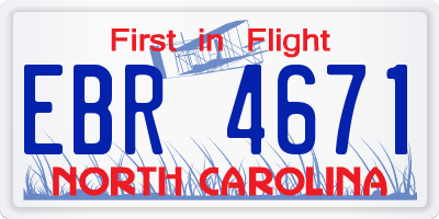 NC license plate EBR4671