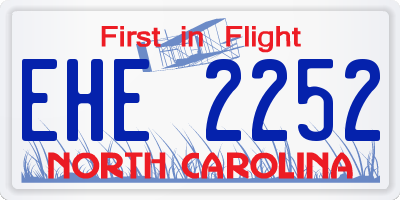 NC license plate EHE2252