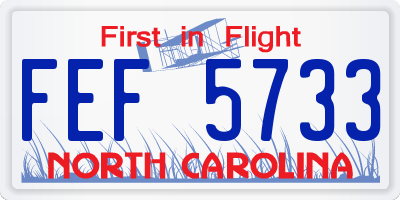 NC license plate FEF5733