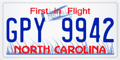 NC license plate GPY9942