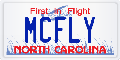 NC license plate MCFLY