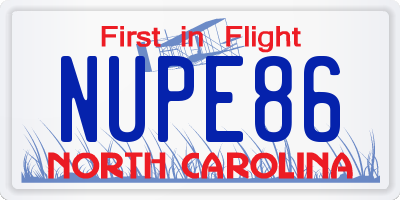NC license plate NUPE86