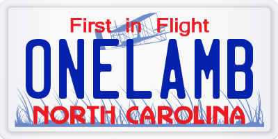 NC license plate ONELAMB