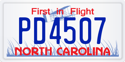 NC license plate PD4507