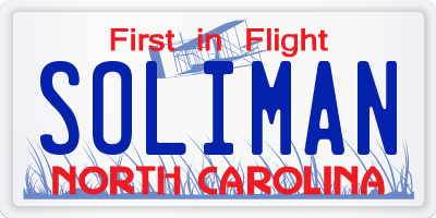 NC license plate SOLIMAN