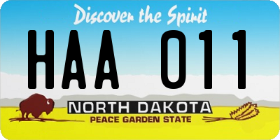 ND license plate HAA011
