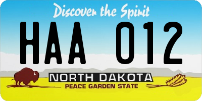 ND license plate HAA012