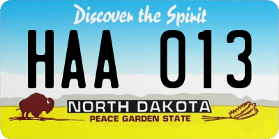 ND license plate HAA013