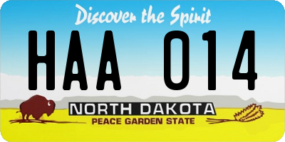 ND license plate HAA014