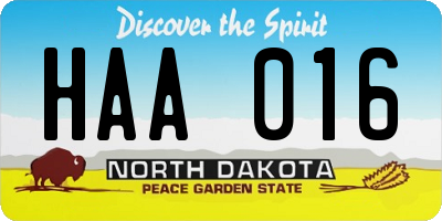 ND license plate HAA016