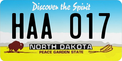 ND license plate HAA017