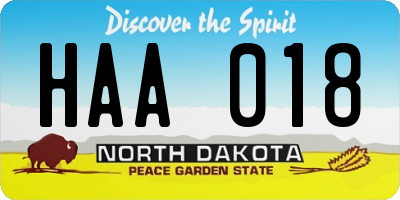 ND license plate HAA018