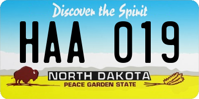 ND license plate HAA019