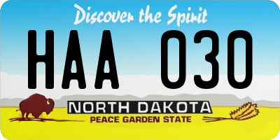 ND license plate HAA030