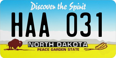 ND license plate HAA031