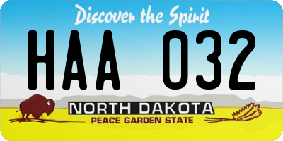 ND license plate HAA032