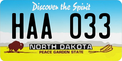 ND license plate HAA033