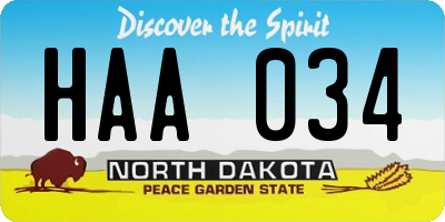 ND license plate HAA034
