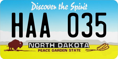 ND license plate HAA035