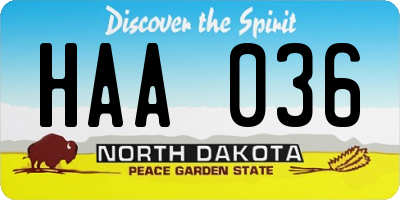 ND license plate HAA036