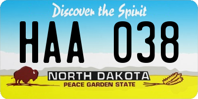 ND license plate HAA038