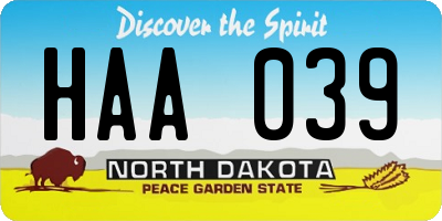 ND license plate HAA039