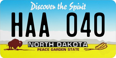ND license plate HAA040