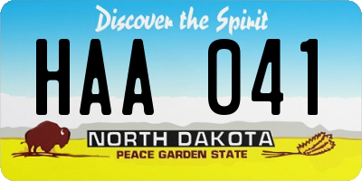 ND license plate HAA041