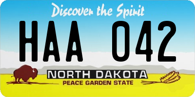ND license plate HAA042