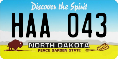 ND license plate HAA043