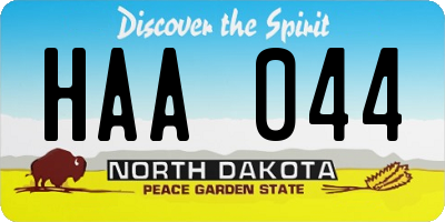 ND license plate HAA044