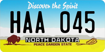 ND license plate HAA045