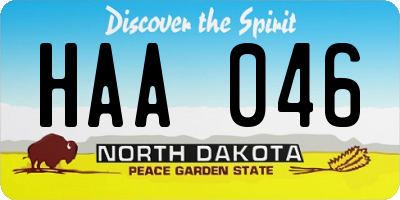 ND license plate HAA046