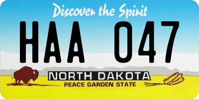 ND license plate HAA047