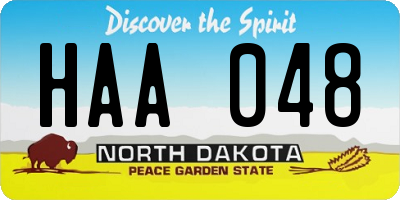 ND license plate HAA048